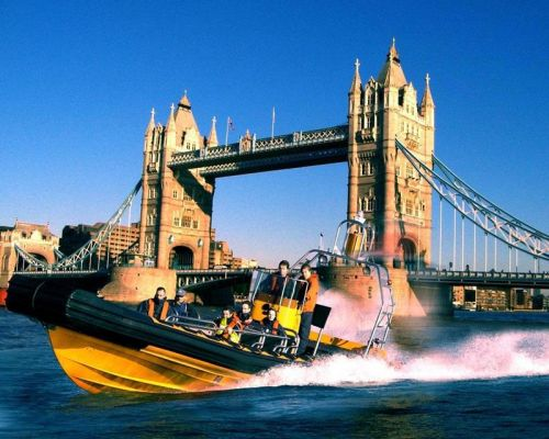 speedboat on the Thames team building event DMC London