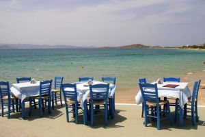 Greece eating on the beach